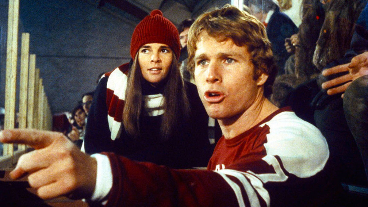ali macgraw and ryan o'neal in a still from love story