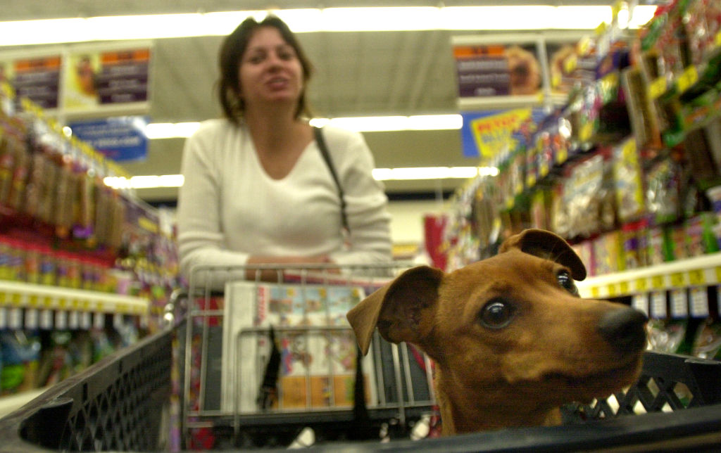 a woman shopping at petco with her dog in the cart