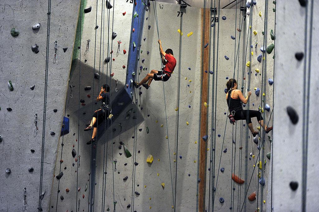 a rock-climbing gym