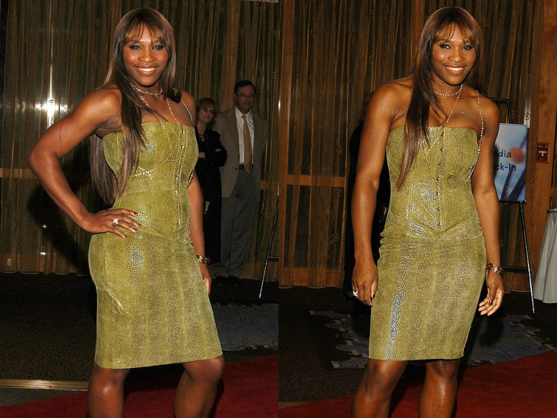Serena Williams wears a yellow dress and long, straight hair while posing for photos at an event.