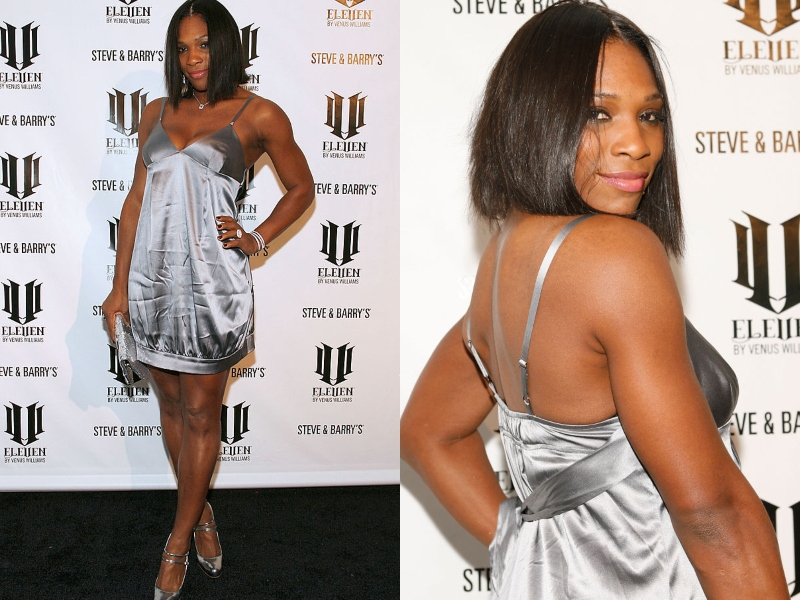 Serena poses at an event wearing a short, silver dress.
