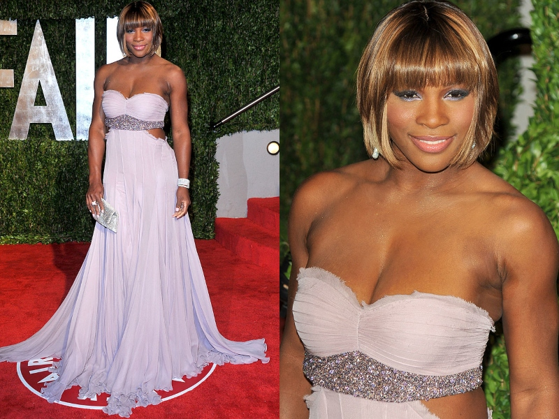 Serena Williams wears a short, blonde bob and a long, strapless, lavender gown.