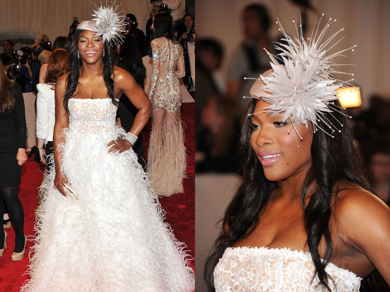 Serena wears a fluffy-white dress at an event.
