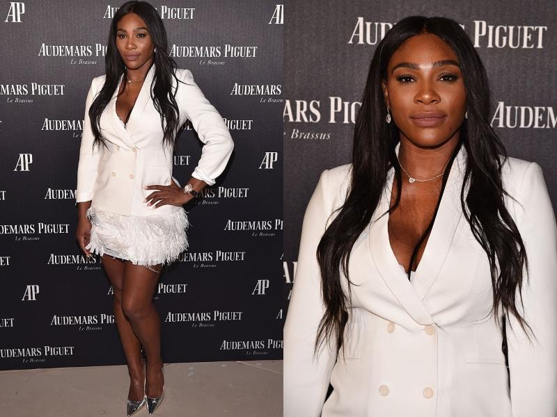 Serena wears a blazer and miniskirt to an art show.