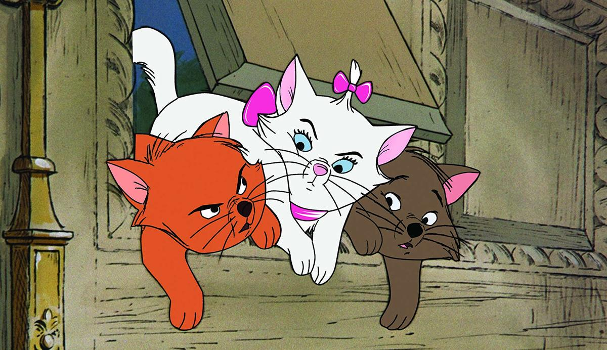 orange, white, and brown kittens in a still from the aristocats