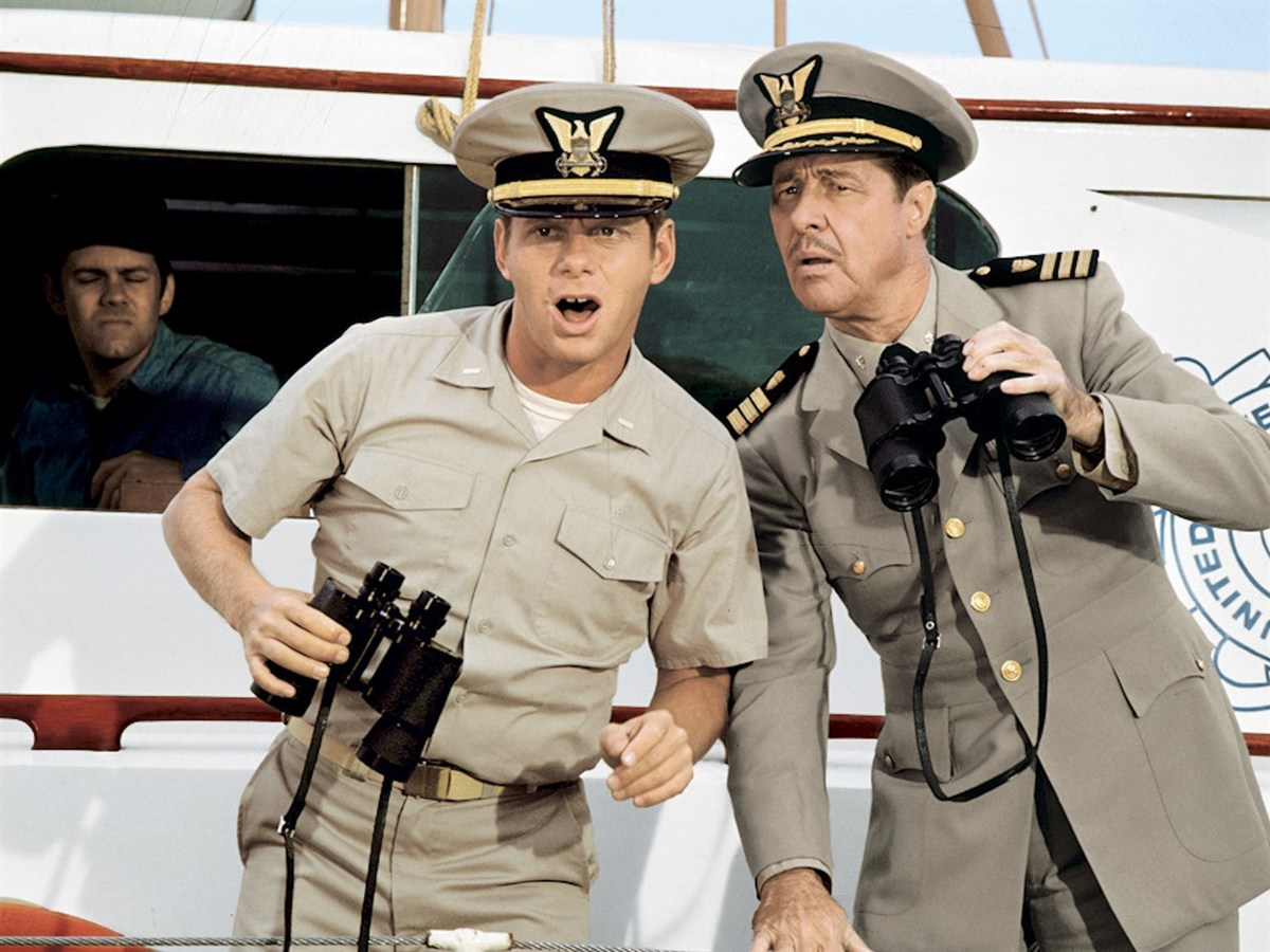 don ameche and robert morse in a still from the boatniks