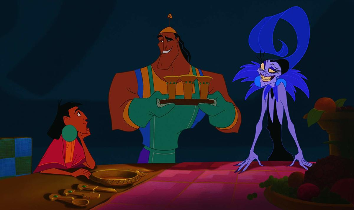 an animated still of kuzco, kronk, and yzma from the emperor's new groove