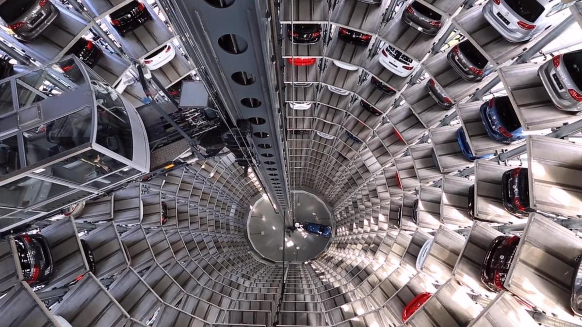 cars parked in a mult-level circular structure
