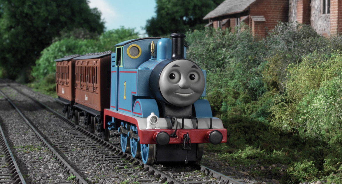 thomas the tank engine on the railroad tracks