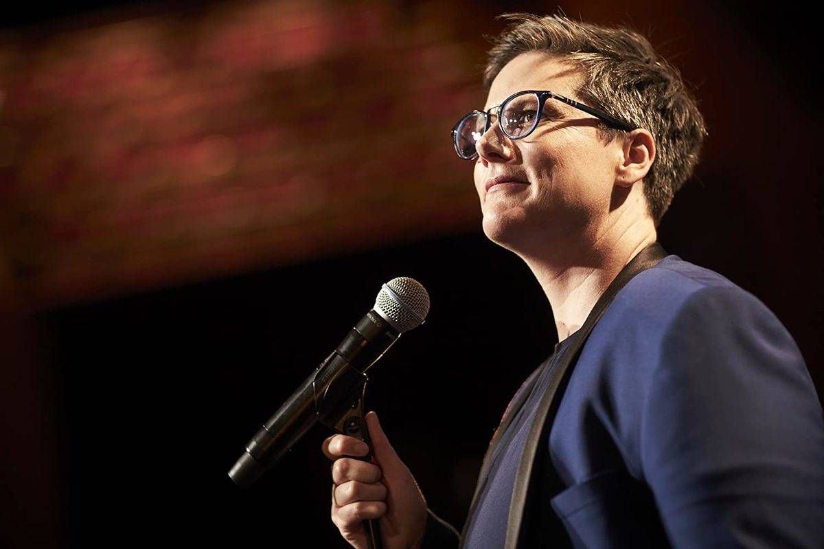 hannah gadsby side view of stand-up set