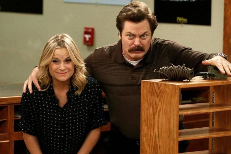 amy poehler and nick offerman in a still from parks and recreation