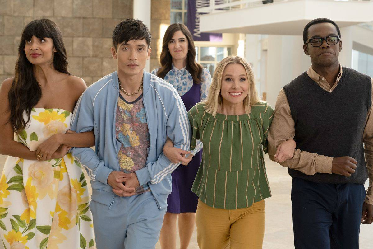 cast of the good place linking arms