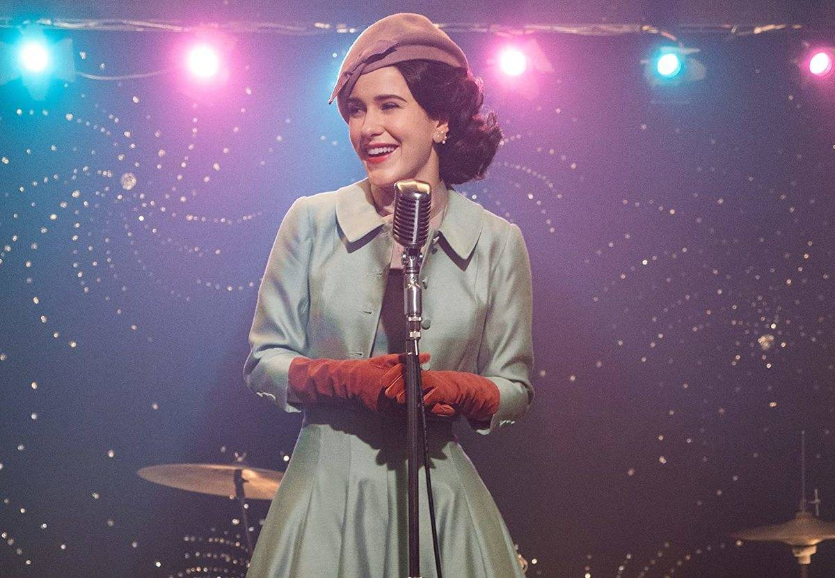 rachel brosnahan performing on stage in the marvelous mrs. maisel
