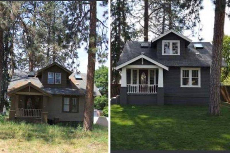someone's before and after picture of their house