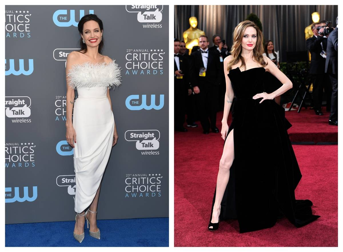 Two photos show Angelina Jolie showing skin strategically with her outfits.