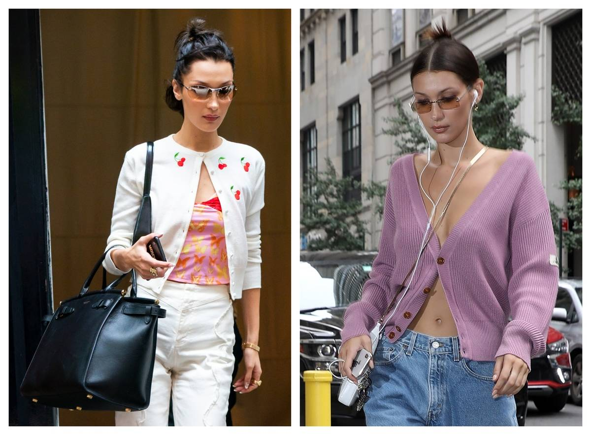 Two photos of Bella Hadid show her wearing a cardigan in different styles.