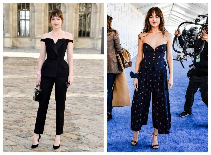 Two photos of Dakota Johnson show her wearing pants with heels.