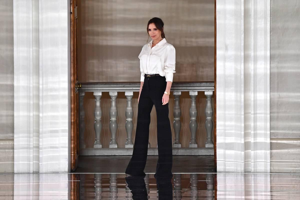 Victoria Beckham walks the runway at the Victoria Beckham show.