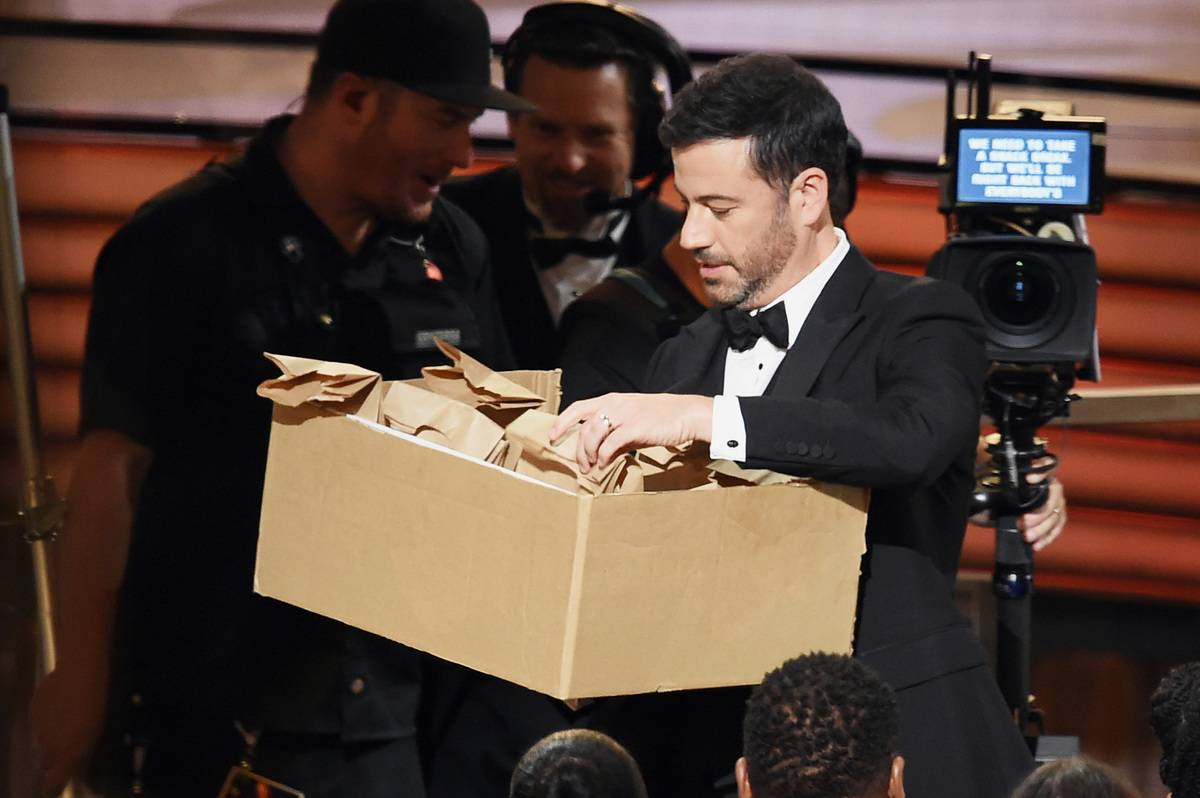 jimmy kimmel opening a package