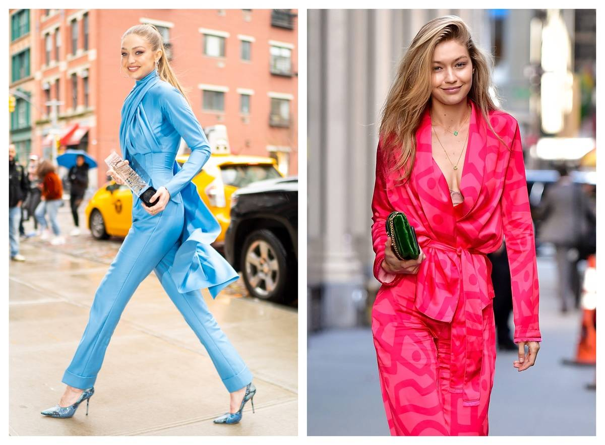 In two photos, Gigi Hadid wears brightly-colored outfits.