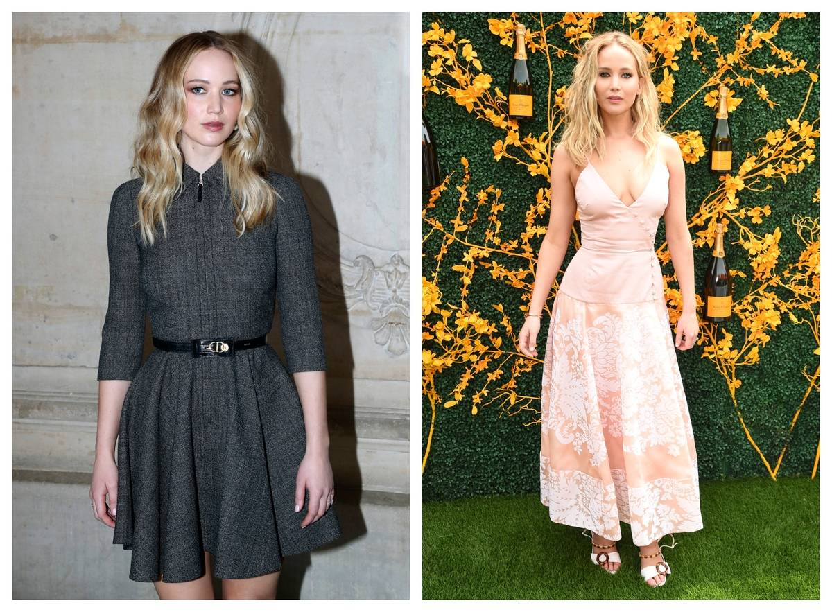 Two photos show Jennifer Lawrence wearing different dresses with the same shape.