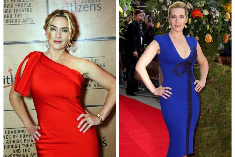 Two photos show Kate Winslet wearing asymmetrical dresses.