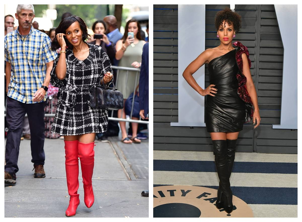 Two pictures of Kerry Washington show her twists on traditional dress outfits.