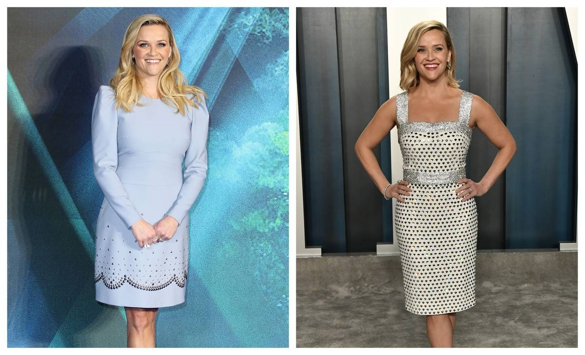 Two images of Reese Witherspoon show her in knee-length fitted dresses.