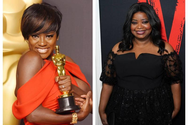 Viola Davis (left) and Octavia Spencer (right) wear dresses with draping sleeves.