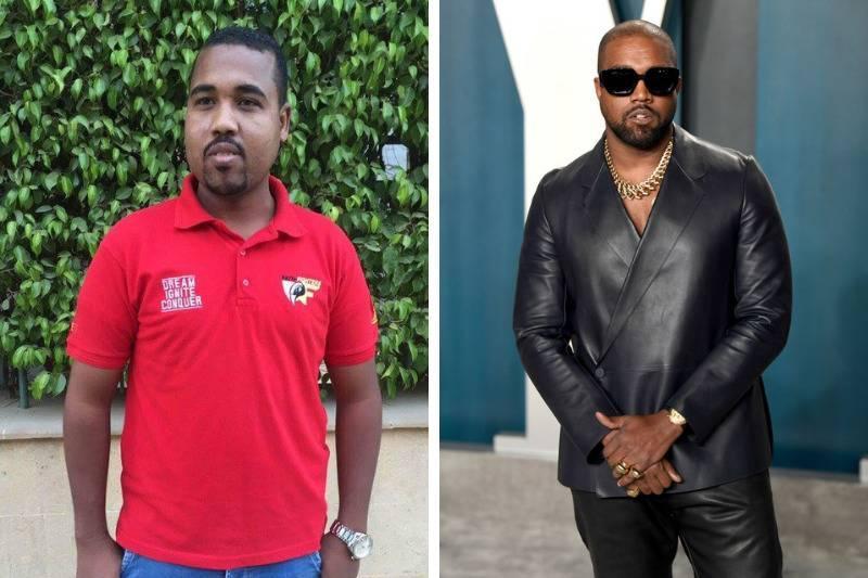 Kanye West Look Alike side by side