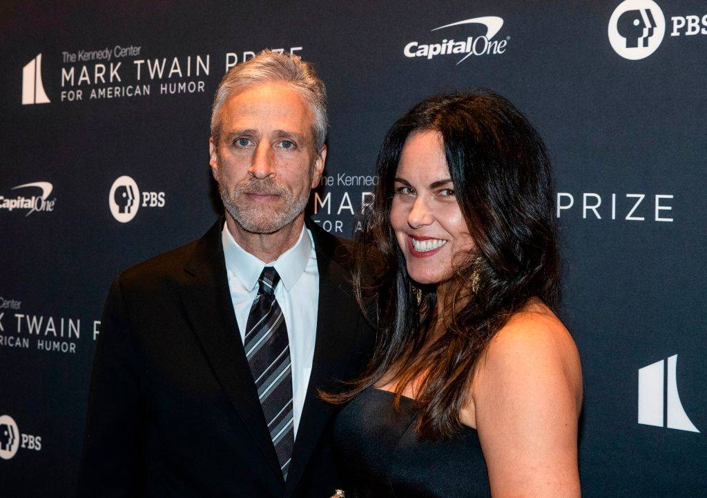 Jon Stewart and his wife Tracey McShane arriving at an event in 2019