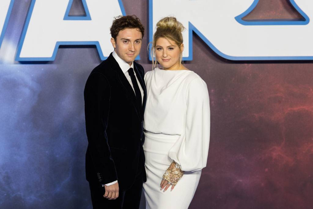 Daryl Sabara and Meghan Trainor attending a premiere in 2019