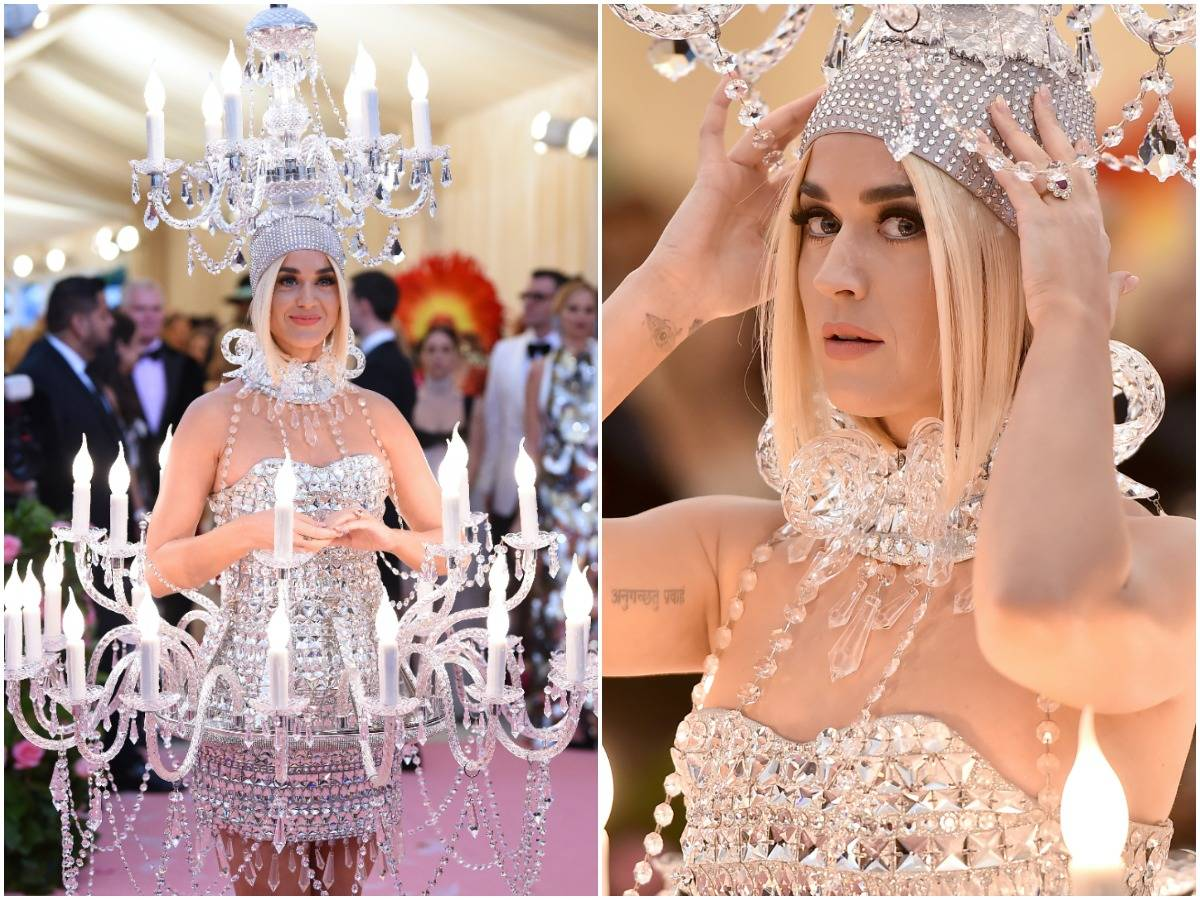Katy Perry shows off her chandelier dress in the 2019 Met Gala.