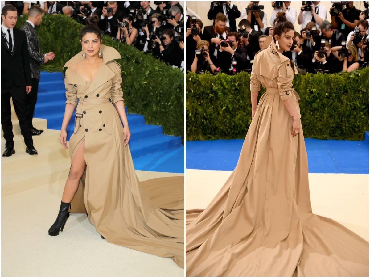 Priyanka Chopra poses for photos in her trench coat dress, 2017.