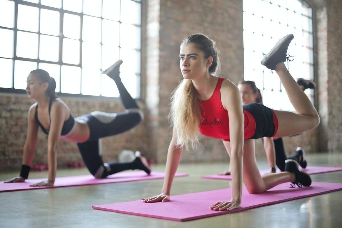 women taking a yoga class