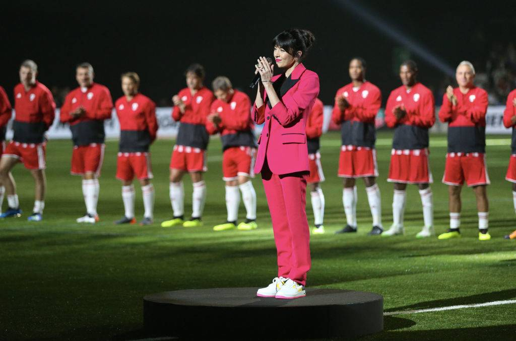 NANTERRE, FRANCE - JUNE 12: Nolwenn Leroy perform the French national anthem before the Friendly match between France 98 and FIFA 98 at U Arena on June 12, 2018 in Nanterre near Paris, France. (