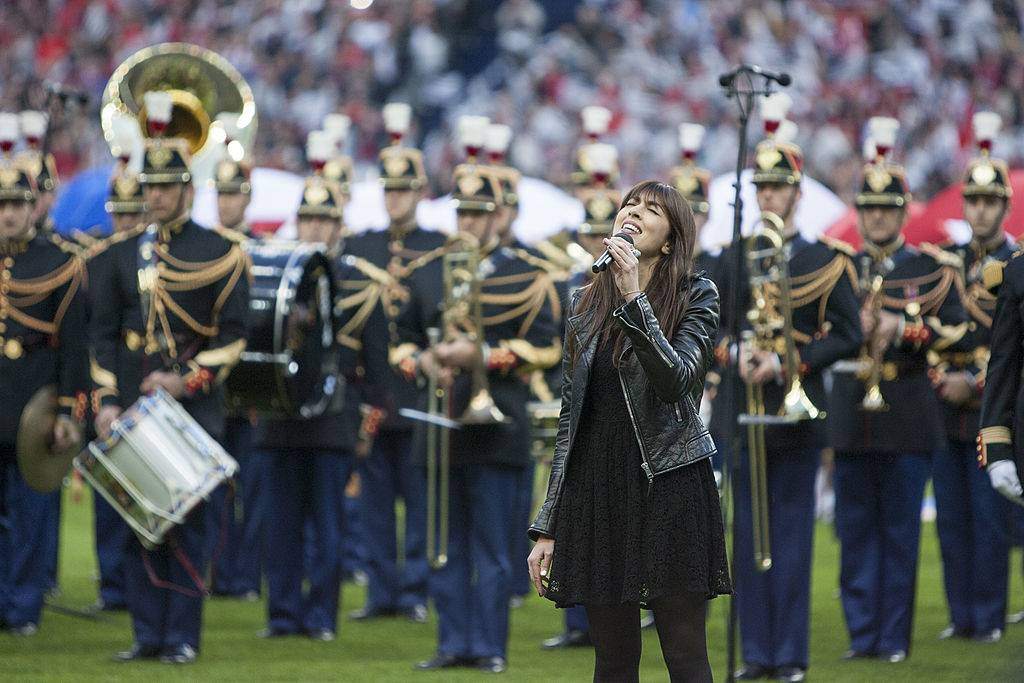 pARIS, FRANCE - MAY 3: Nolwenn Leroy sings before the French Cup Final match between Stade Rennais FC and EA Guingamp at Stade de France on May 3, 2014 in Saint-Denis near Paris, France. (