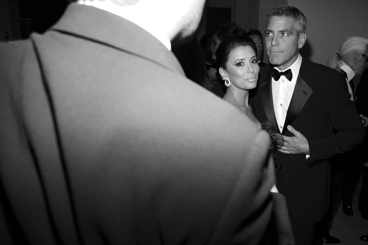 eva longoria and george clooney at gala in new york